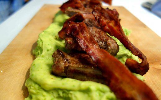 Steak, Leber und Speck