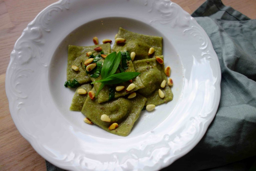 Vegan Wild Garlic Ravioli With Mushroom Filling
