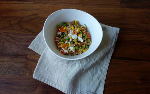 Dinkelpfanne mit Gemüse und Feta, Cooked Spelt with Vegetables And Feta