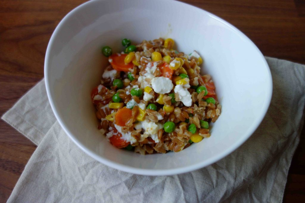 Cooked Spelt with Vegetables And Feta