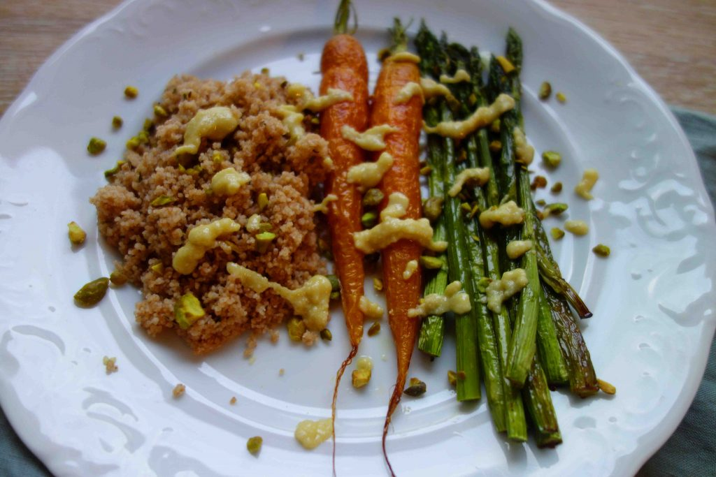 Oven Baked Veggies With Couscous And Sesame Dressing