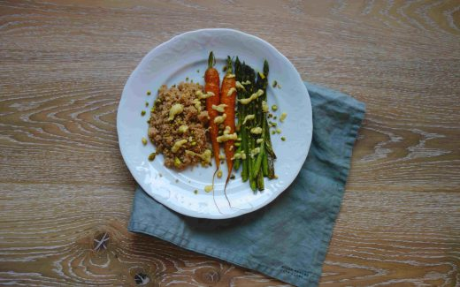 Ofengemüse mit Couscous und Sesamdressing, Oven Baked Veggies With Couscous And Sesame Dressing