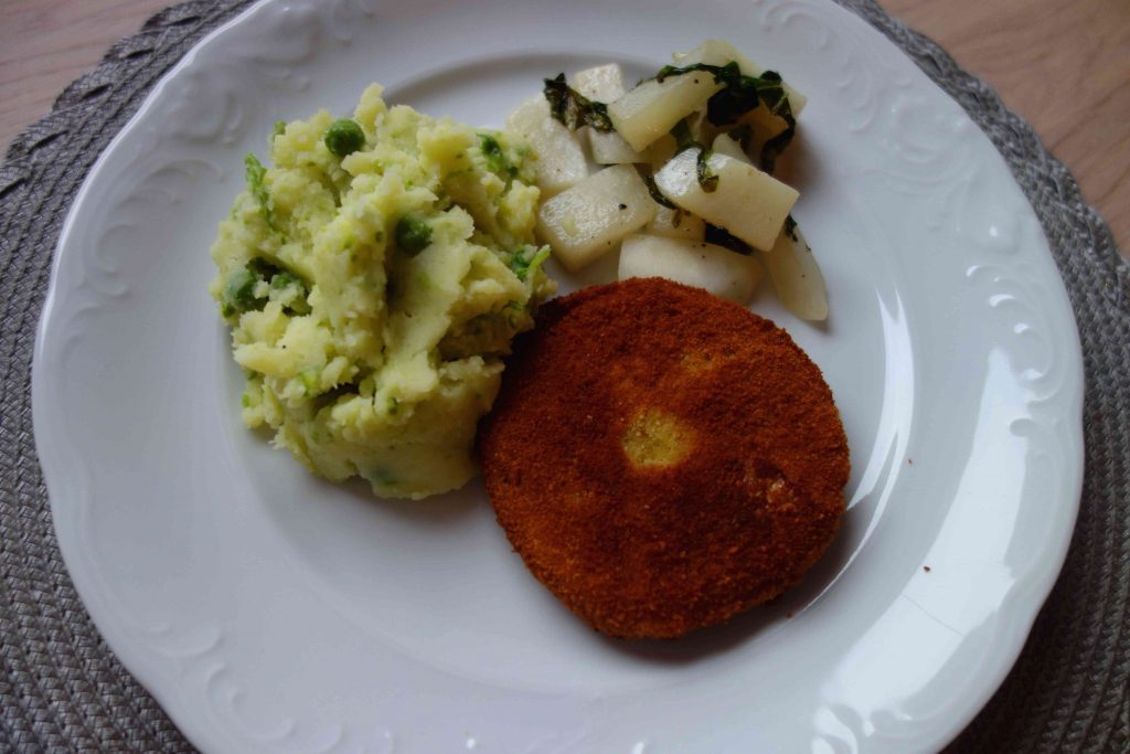 Double Breaded Kohlrabi Schnitzel With Mashed Peas And Potatoes