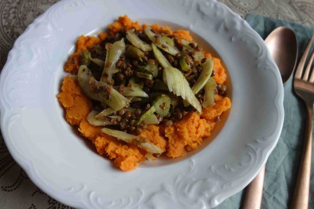 Lentils With Fennel On Mashed Sweet Potatoes